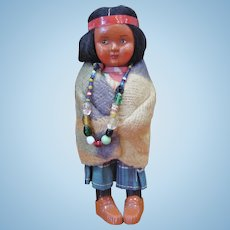 Skookum Bully Good Indian Child Doll with Beaded Necklace
