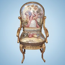 Miniature Viennese Enameled Brass Ormolu Arm Chair with Romantic Scenes