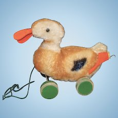 Steiff Mohair Duck Pull Toy with Green Wooden Wheels