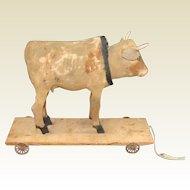 Antique German Paper Mache Nodder Cow Pull Toy