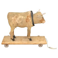 Antique German Paper Mache Nodder Cow Pull Toy