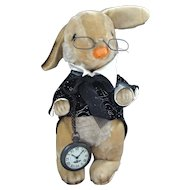 Mohair Bunny Rabbit Wearing Spectacles and a Pocket Watch