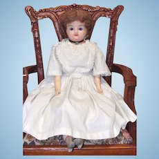 Antique Wax Over Composition Child Doll with Composition Boots