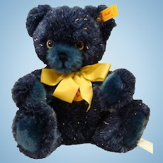 Steiff Navy Blue Plush Teddy Bear with Gold Sparkles