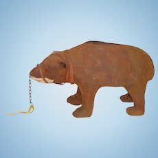 Papier-Mache' Toy Muzzled Bear on All Fours