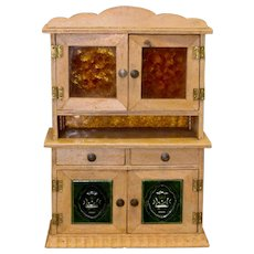 Miniature Doll Size Step Back Cupboard with Green Tile Inserts