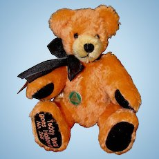 Hermann Fully Jointed Orange Mohair Teddy Bear Goes Halloween
