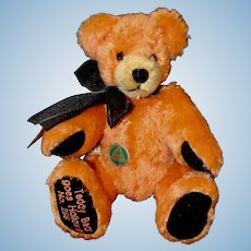 Hermann Fully Jointed Orange Mohair Teddy Bear Goes Halloween