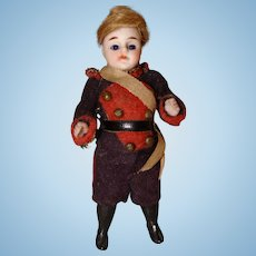 Miniature All Bisque Soldier Doll with Glass Eyes