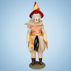 Bisque Head Clown Doll with Composition Body