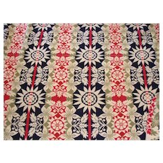Beautiful Four Color Homespun Coverlet Dated 1839