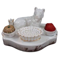 Porcelain Sewing Accessory With Dog, Thimble Holder and Pincushion