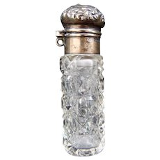 Cut Glass Perfume Bottle with Sterling Silver Top for Chatelaine