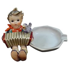 German Hummel Boy with Accordion and Bird Ashtray