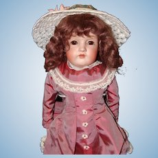 Pretty Kestner 154 Bisque Shoulder Head doll with Kid Leather Body