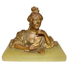 Bronze Gibson Girl Paperweight on Alabaster Base
