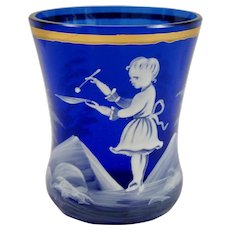 Small Cobalt Blue Mary Gregory Vase with Young Girl