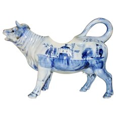 Delft Blue and White Porcelain Cow Creamer