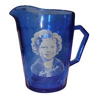Blue Depression Glass Shirley Temple Pitcher by Hazel Atlas