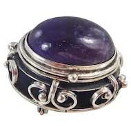 Vintage Mexican - Sterling Silver and Amethyst Locket Pin/Pendant - C. 1960-70s