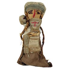 LARGE Peruvian CHANCAY Textile Burial Female Doll with Children