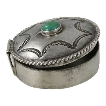 Navajo – Sterling Silver & Turquoise Round Pill Box