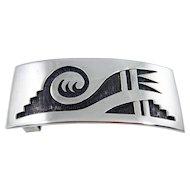 RARE - Hopi Leroy Kewanyama Sterling Silver Overlay Belt Buckle - C. 1960-70s