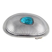 Navajo - Leonard Schmallie Sterling and Natural Lone Mountain Turquoise Buckle