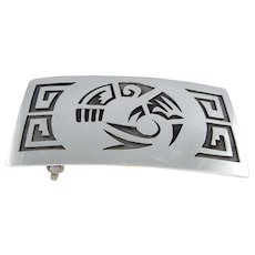 Hopi – Sterling Silver Overlay Belt Buckle with Bird Design