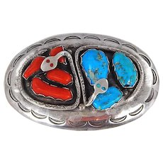 Zuni – Effie Calavaza, Sterling, Turquoise & Coral Snake Buckle – C. 1960-70s