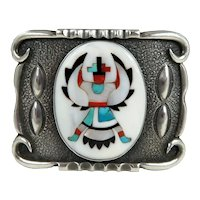 Zuni – Tom Weahkee, Sterling & Multi Stone Inlay Knifewing Buckle