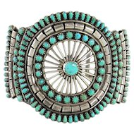 Zuni – Sterling Silver and Turquoise Cluster Bracelet – C. 1950-60s