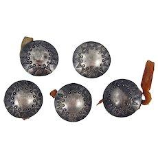 EARLY Pueblo or Navajo – 5 Ingot Silver Buttons C. 1890-1910s