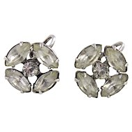 Vintage Costume Sterling Silver with Rhinestones Earrings