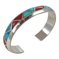 Vintage Sterling Silver, Turquoise and Coral Geometric Channel Inlay Cuff Bracelet. C. 1950-60s