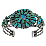 Zuni Sterling and Turquoise Cluster Bracelet - C. 1940s