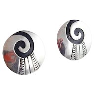 Sterling Silver Round Overlay SWIRL Earrings
