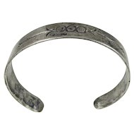 Navajo - Sterling Silver Cuff Bracelet with Whirling Logs & Arrow Stampwork.