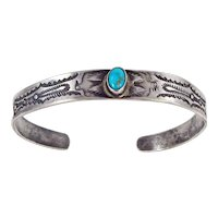 EARLY Navajo – Coin Silver and Turquoise Thunderbird Bracelet. C. 1910-20s
