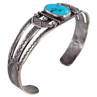 Navajo – Fred Harvey Era Coin Silver and Turquoise Cuff