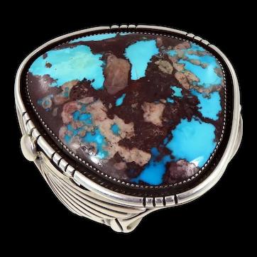 Navajo – Orville Tsinnie, Sterling with HUGE Bisbee Turquoise Bracelet