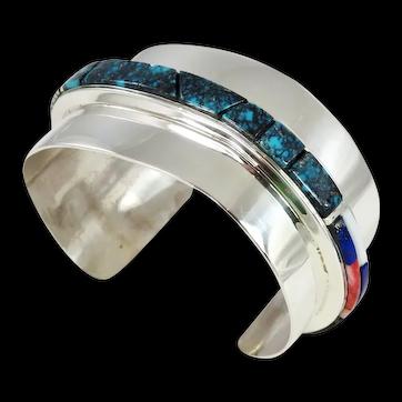 Hopi- Phil Sekaquaptewa, Sterling, Multi Stone Channel Inlay Cuff