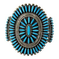 Zuni – Sterling Silver and Turquoise Cluster Bracelet – C. 1970s