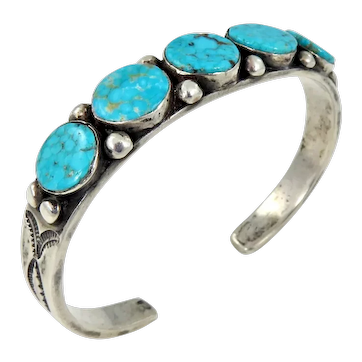 Navajo – Sterling Silver with 5 Turquoise Cab Cuff Bracelet