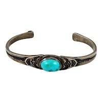 Navajo – Ingot Silver with Turquoise Bracelet C. 1920-30s