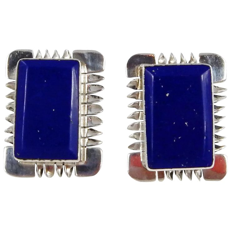 Mexican Taxco Sterling Silver With Lapis Earrings C 1980s