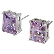 Sterling Silver, Purple Cushion Cut Costume Earrings
