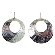 Inuit - Terrence Campbell, Sterling Silver Killer Whale Round Earrings.
