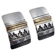 Navajo - D. Sloane Sterling Silver and 14k gold earrings