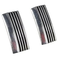 Navajo - Sterling Silver Shadow Box Ribbed Earrings. Attributed to Tom Hawk.